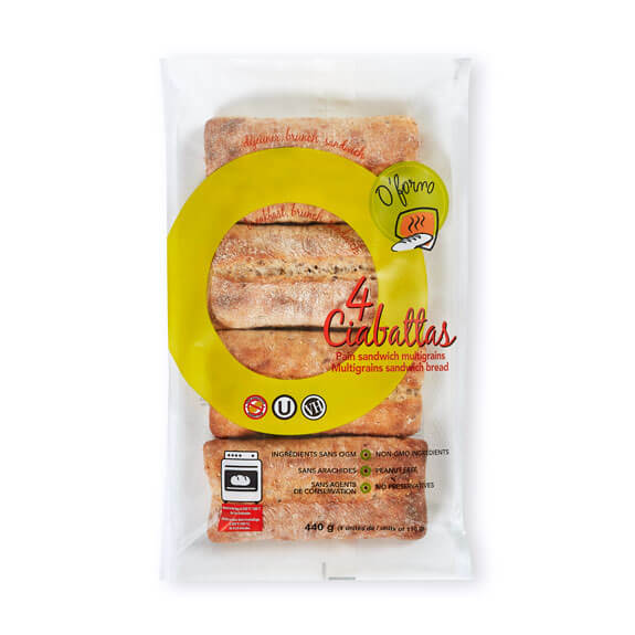 4 Ciabattas Multigrain Sandwich Bread